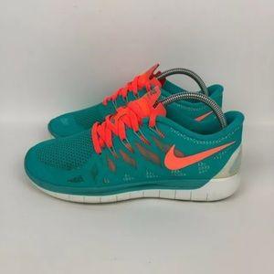 Nike Free 5.0 Hyper Jade Blue Orange White Running Shoe